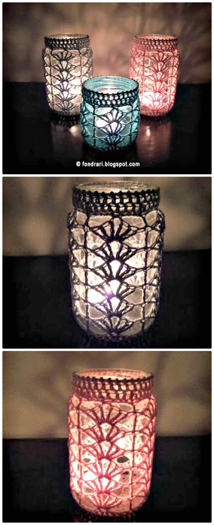 How To Free Crochet Tealight Holder Shell Jar Cover