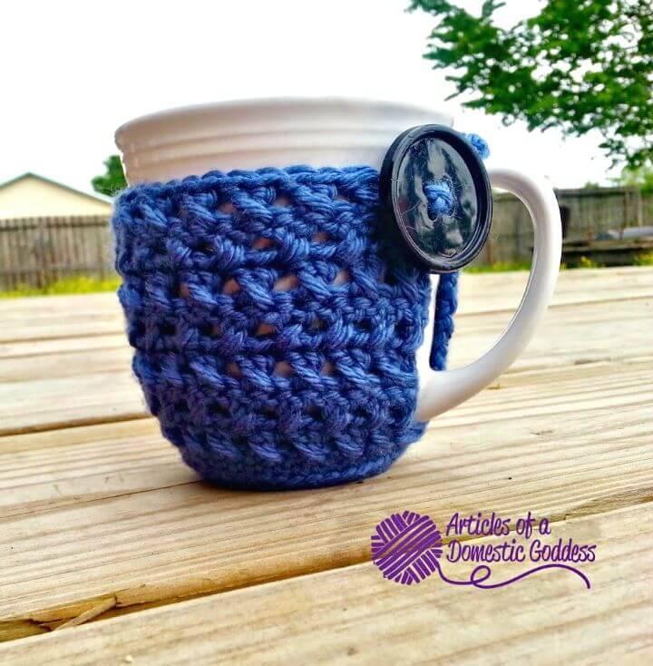 Easy Free Crochet Textured Coffee Mug Cozy Pattern