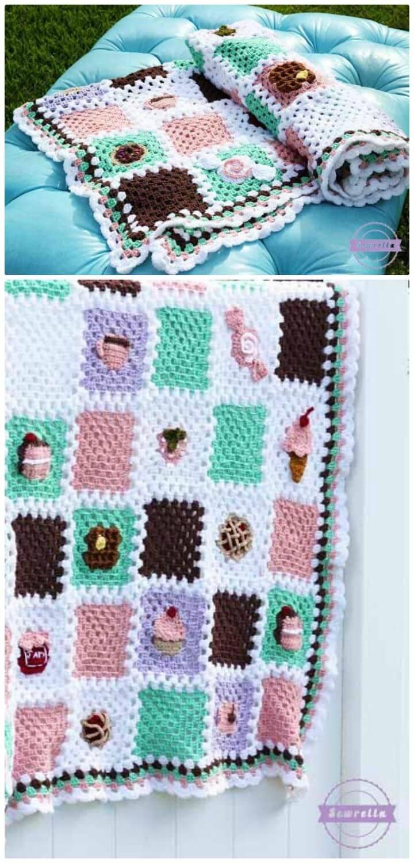 Wie man das Backen-Geschäft-Decken-Reihen-Muster frei häkelt
