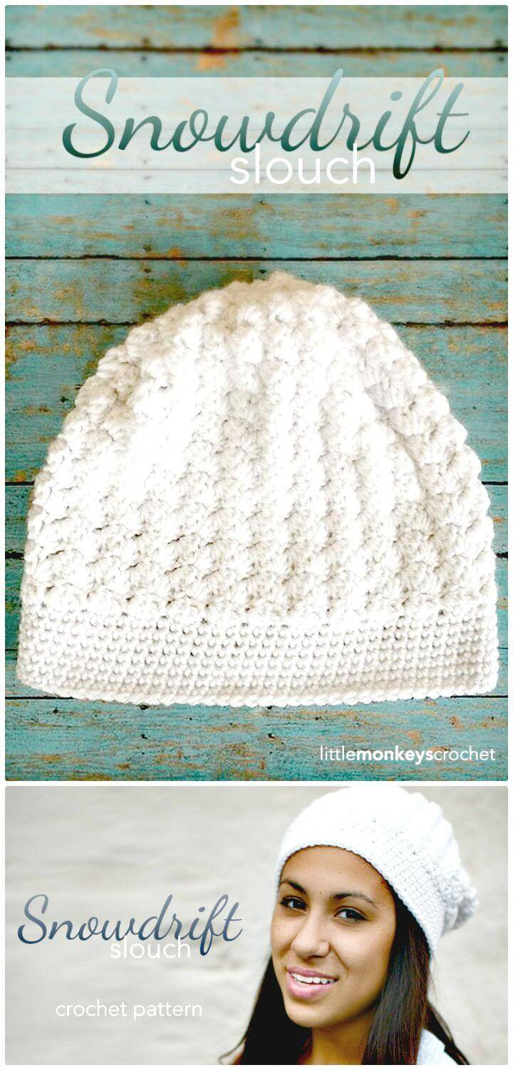 Easy Free Crochet The Snowdrift Slouch Hat Pattern