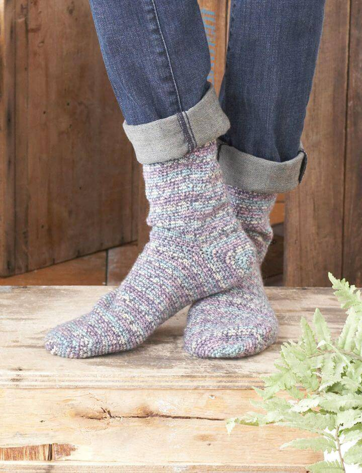 Crochet Toe Up Sock - Women's Socks Free Pattern