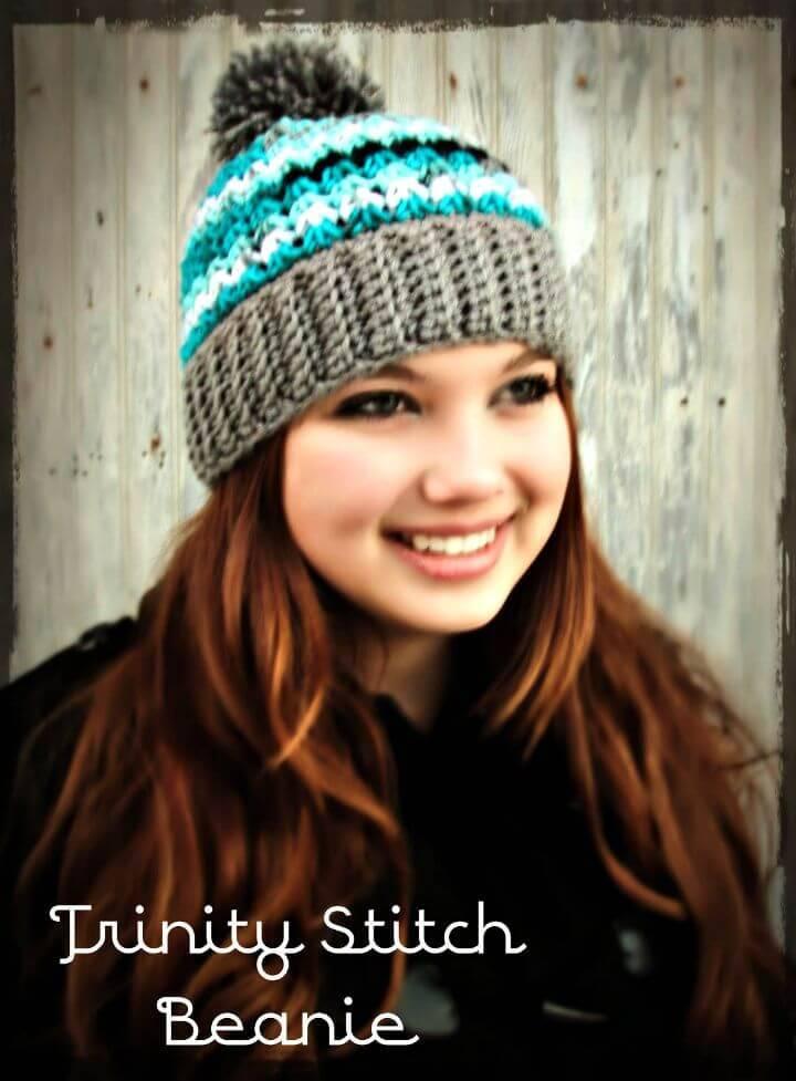 06f2c7df865 Easy Free Crochet Trinity Hat Beanie   With Or Without Pom - Pom Pattern