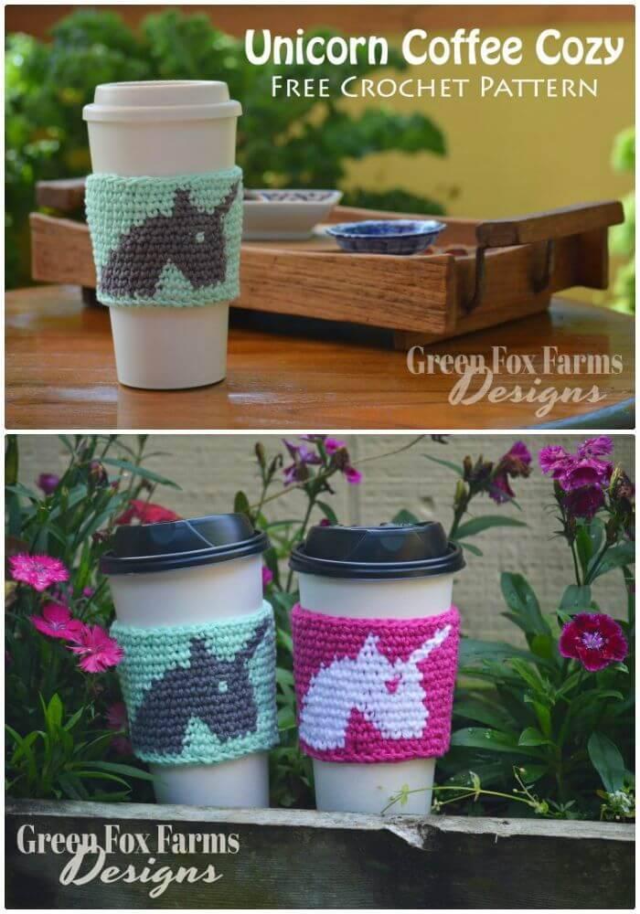 Easy Free Crochet Unicorn Coffee Cozy Pattern