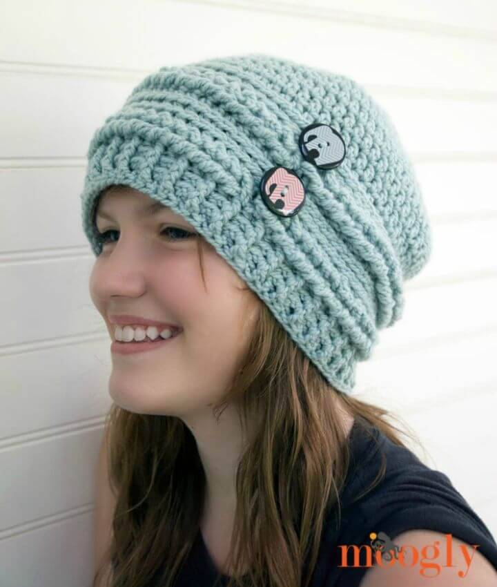 Free Crochet Ups and Downs Crochet Slouchy Beanie Pattern