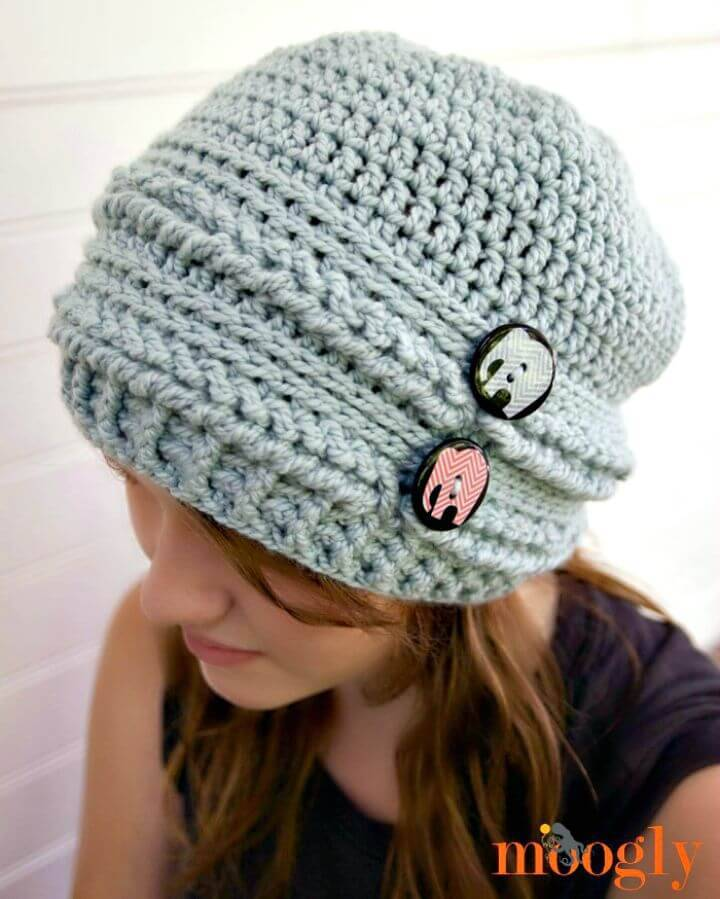 Easy Free Crochet Ups and Downs Slouchy Beanie Hat Pattern