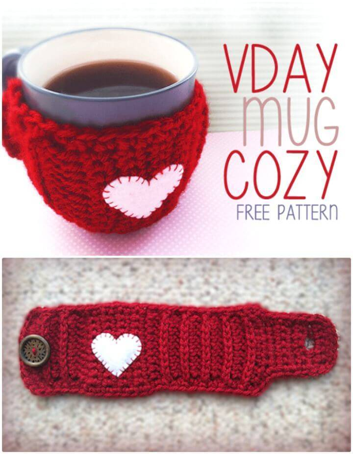 Free Crochet Valentine'S Day Mug Coffee Cozy Pattern