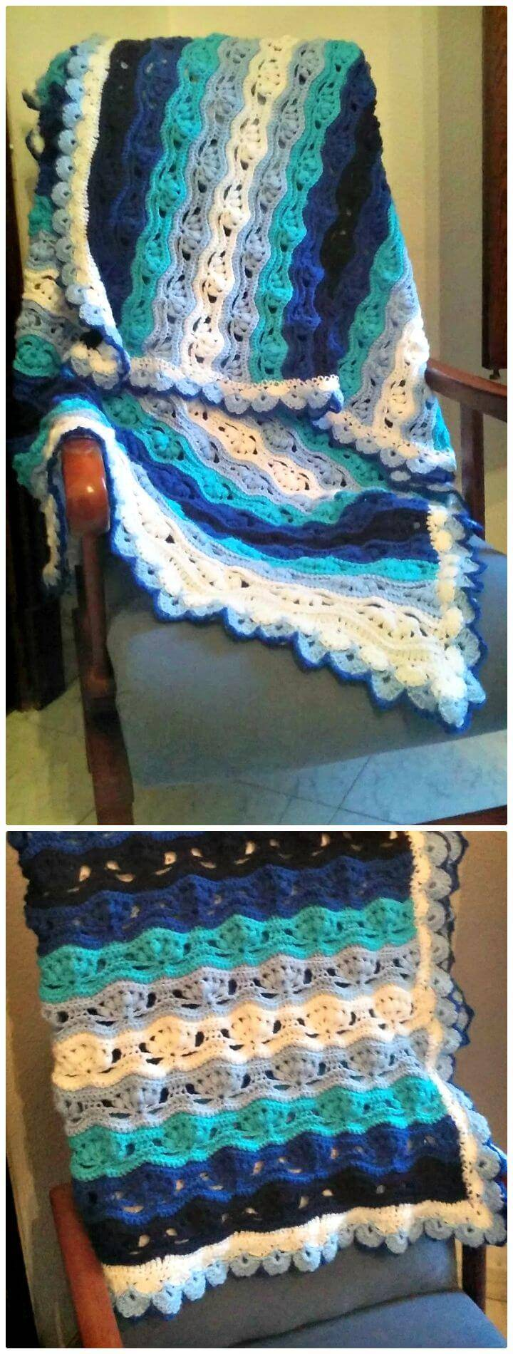 Easy Free Crochet Wavy Blanket Pattern