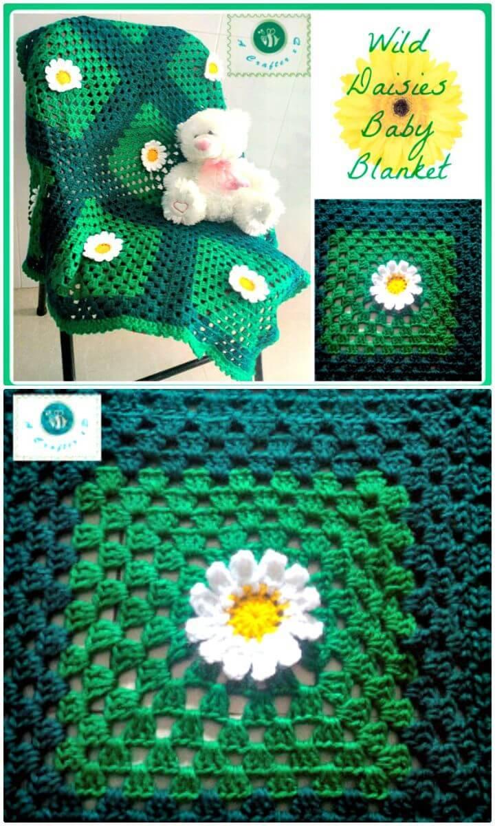 Crochet Wild Daisies Baby Blanket - Free Pattern
