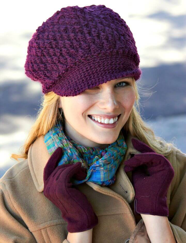 2b716da1a51a8 Get your hook inspired of this another precious crochet hat design, this  one is also inspired of a newsboy hat and is sure to keep your head warm  without ...