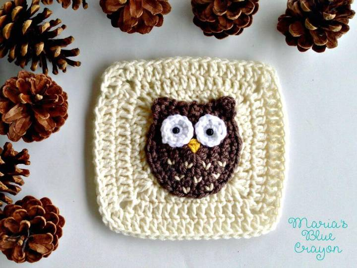 How To Free Crochet Woodland Owl Granny Square Pattern