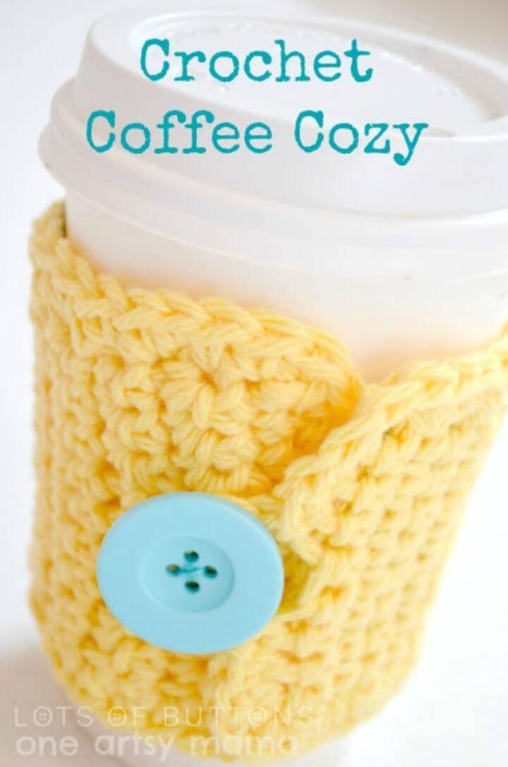 Easy Free Crochet Yellow Coffee Cozy Pattern