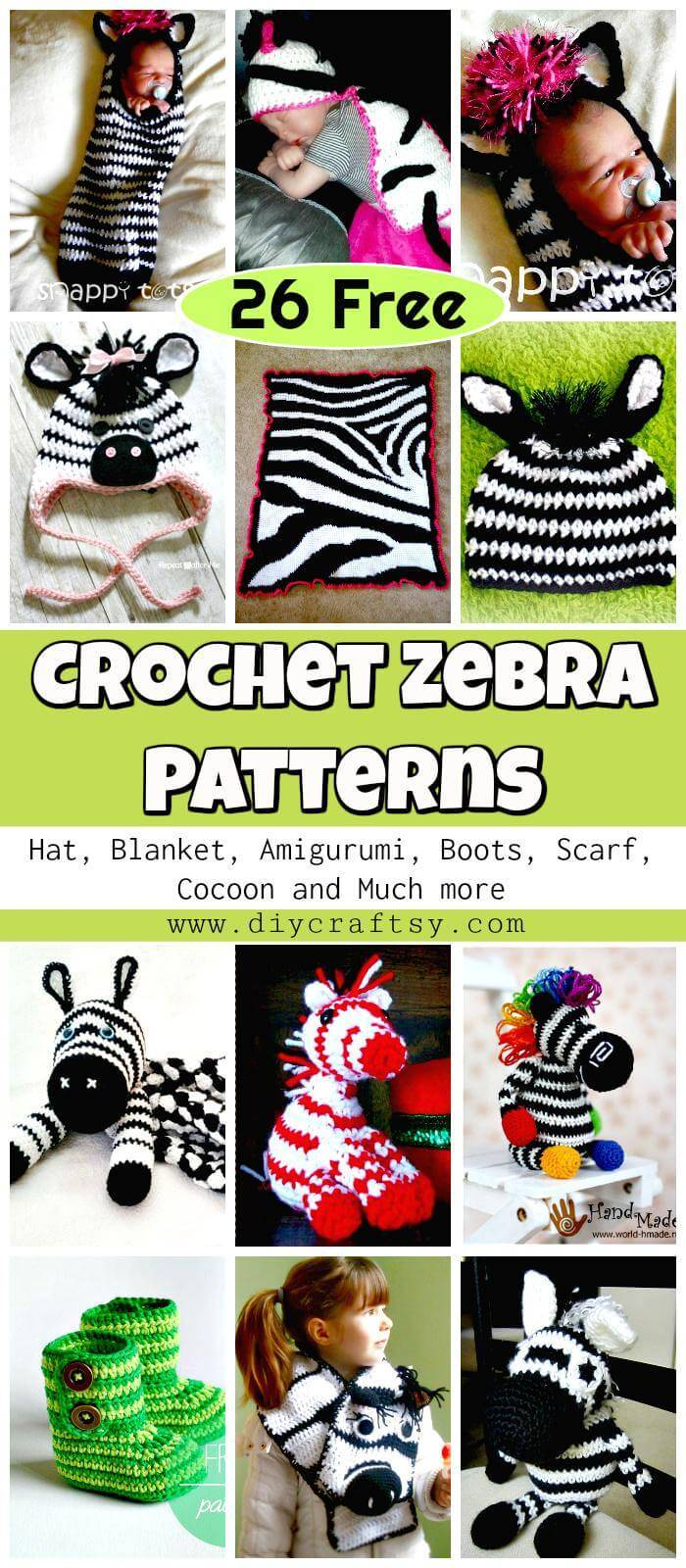 Free Crochet Zebra Patterns - Crochet Hat, Blanket, Amigurumi