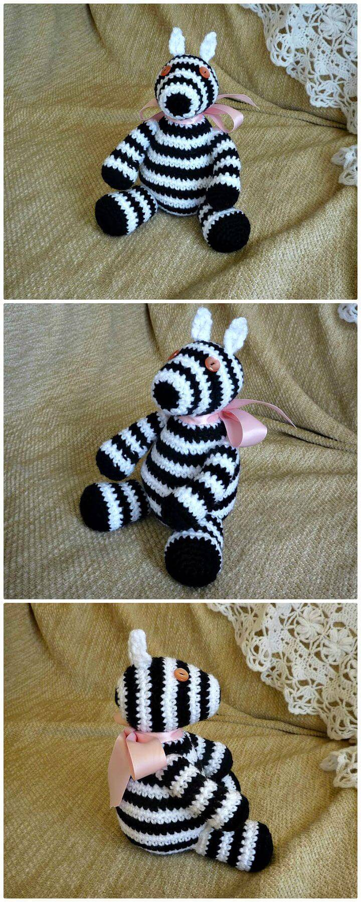How To Free Crochet Zillah Zebra Pattern