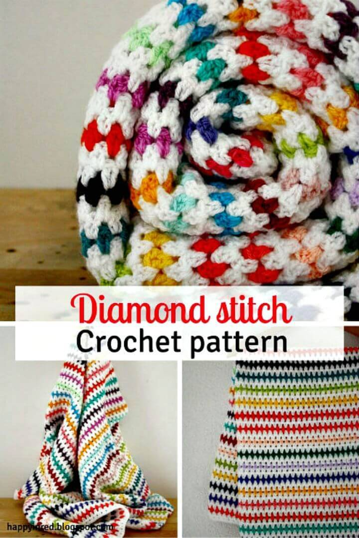 Free Crochet Diamond Stitch Blanket Crochet Pattern - Step By Step Tutorial