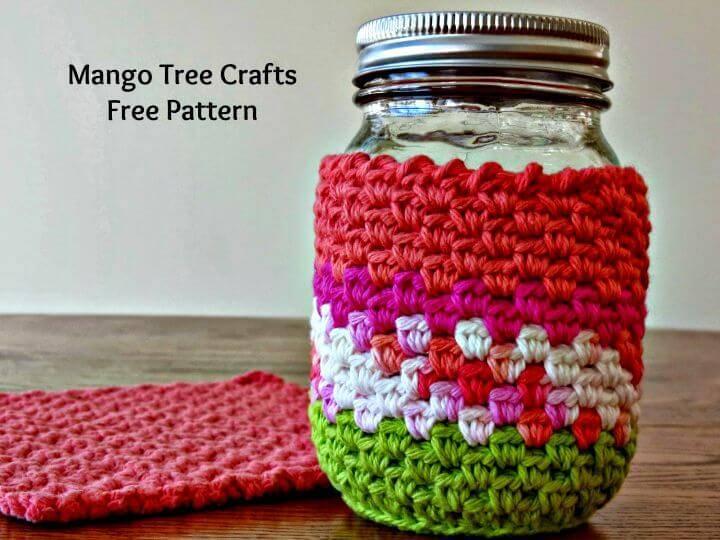 How To Free Crochet Mason Jar Cozy Pattern