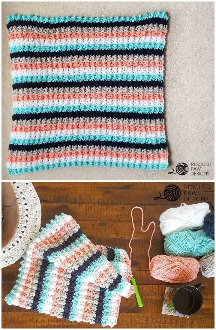 How To Free Striped Crochet Baby Blanket Pattern