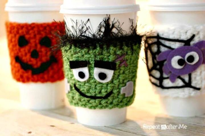 How To Halloween Crocheted Cup Cozy Pattern