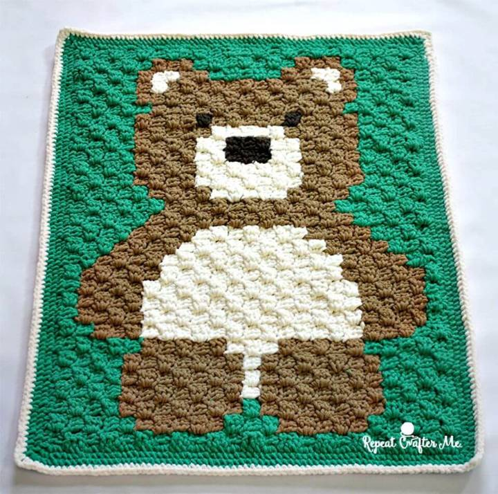 How To Free Crochet C2C Bernat Blanket Bear Pattern