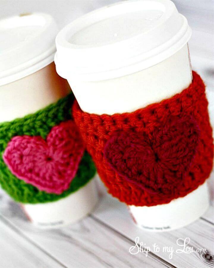 Free Crochet Heart Coffee Cozy Pattern