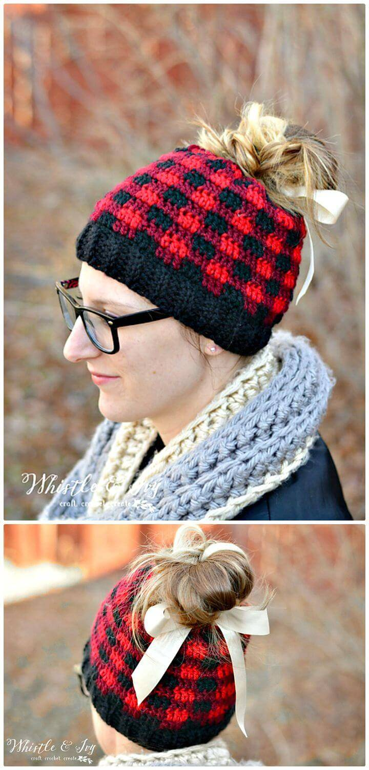 How To Free Crochet Messy Bun Plaid Hat Pattern