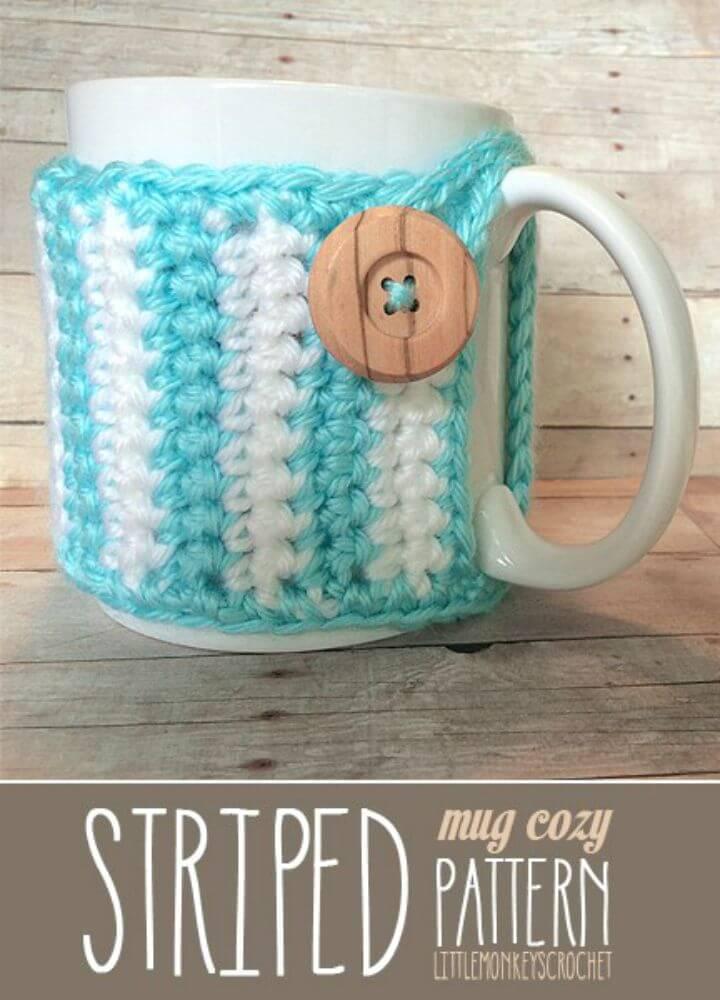 How To Free Crochet Striped Mug Cozy - Free Pattern