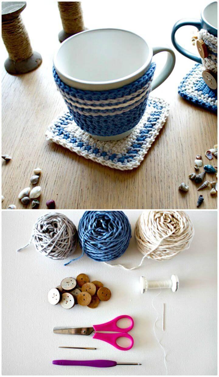 Free Crochet An Adorable Crochet Mug Hug And Rug Coffee Cozy Pattern
