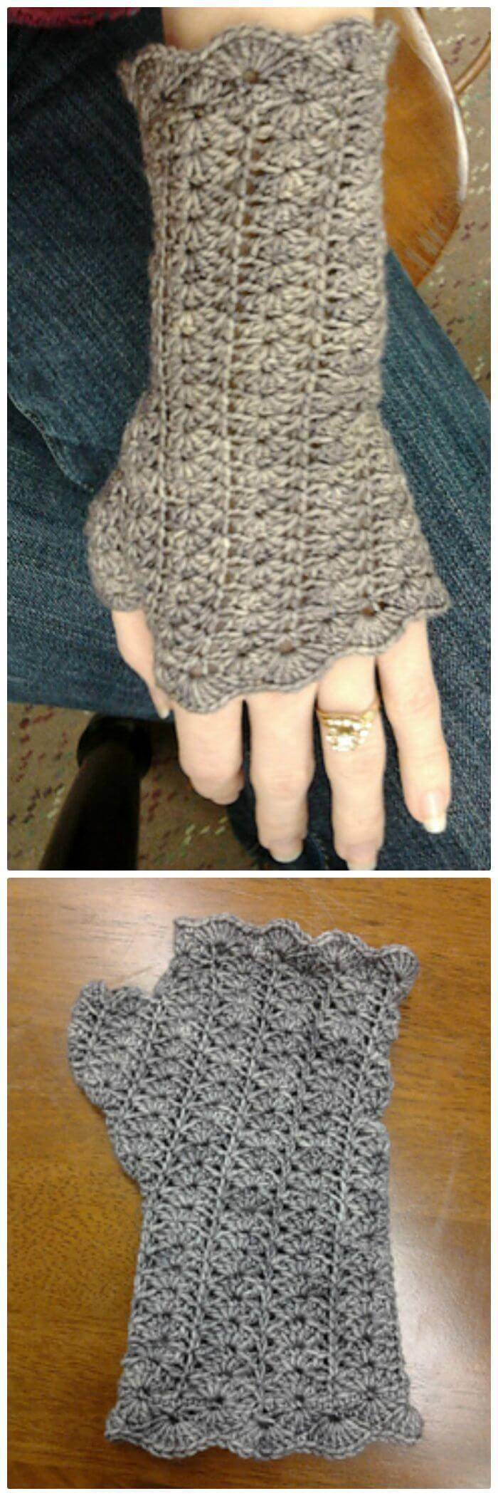 Free Crochet Faded Lace Mitts Pattern