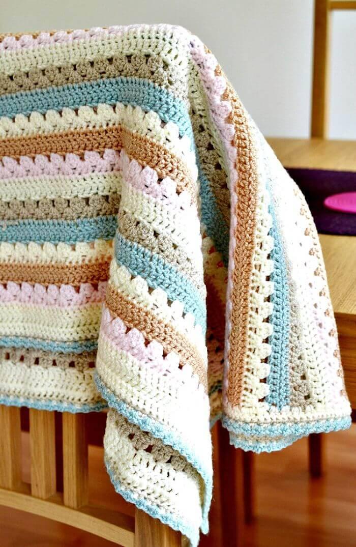 Free Crochet A Cosy Stripe Blanket Pattern