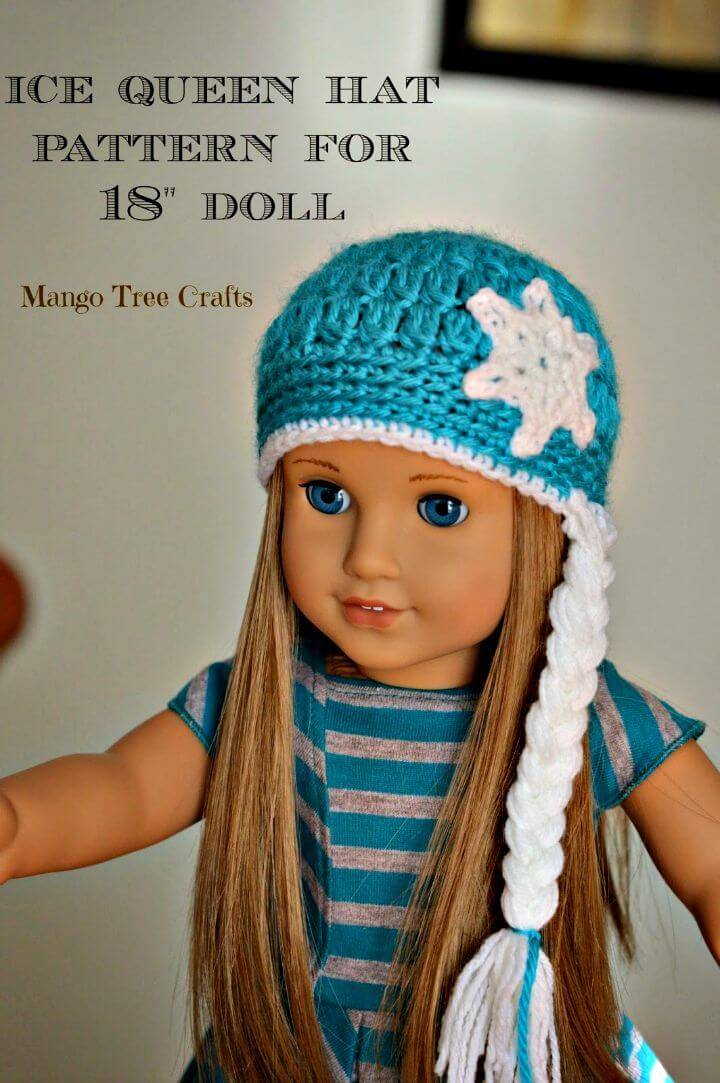 Free Crochet Ice Queen Hat Pattern For 18 American Girl Doll