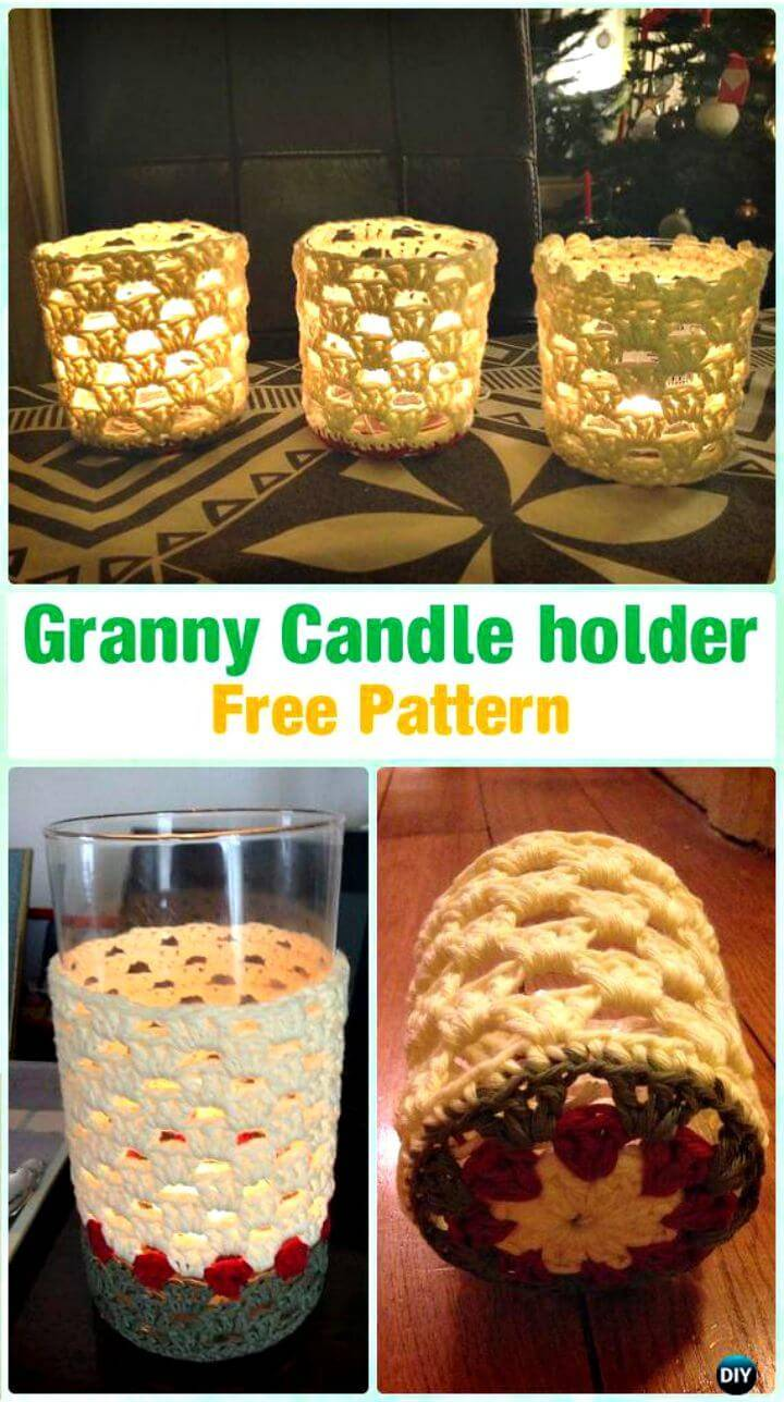 Crochet Granny Candle Holder - Free Pattern