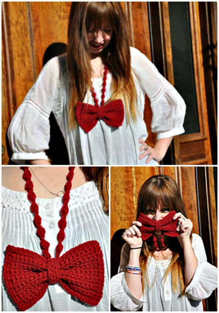 Free Crochet A Bow - Tie Necklace Pattern
