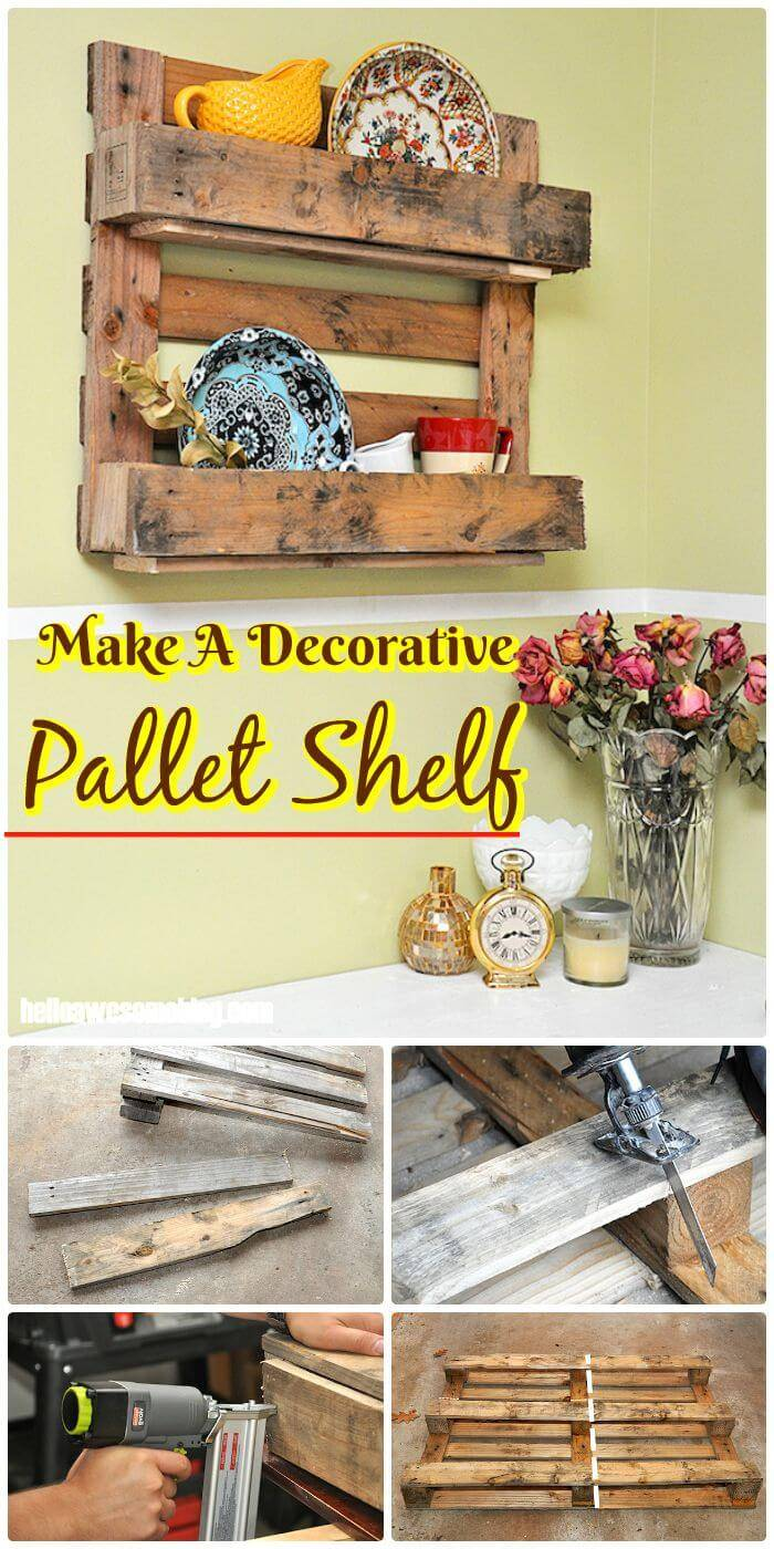 DIY A Decorative Pallet Shelf