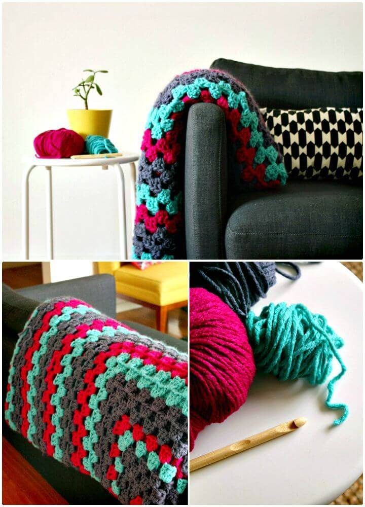 Free Crochet Giant Granny Square Rug Pattern