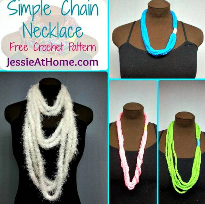 Make Simple Chain Stitch Necklace - Free Crochet Pattern