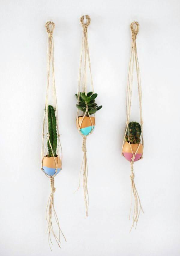 DIY Mini Macrame Succulent Egg Decorations For Easter
