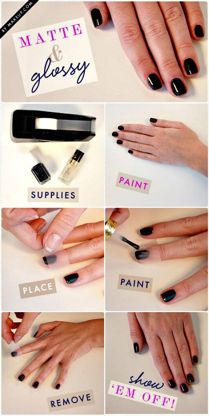 Easy DIY Matte And Glossy Nails - Free Tutorial