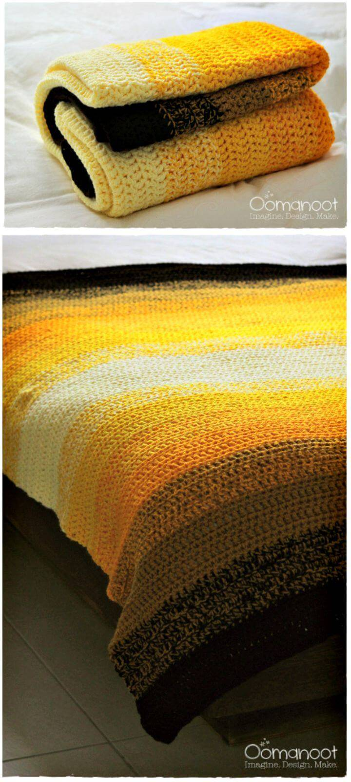 Ombre Crochet Afghan Blanket - Free Tutorial