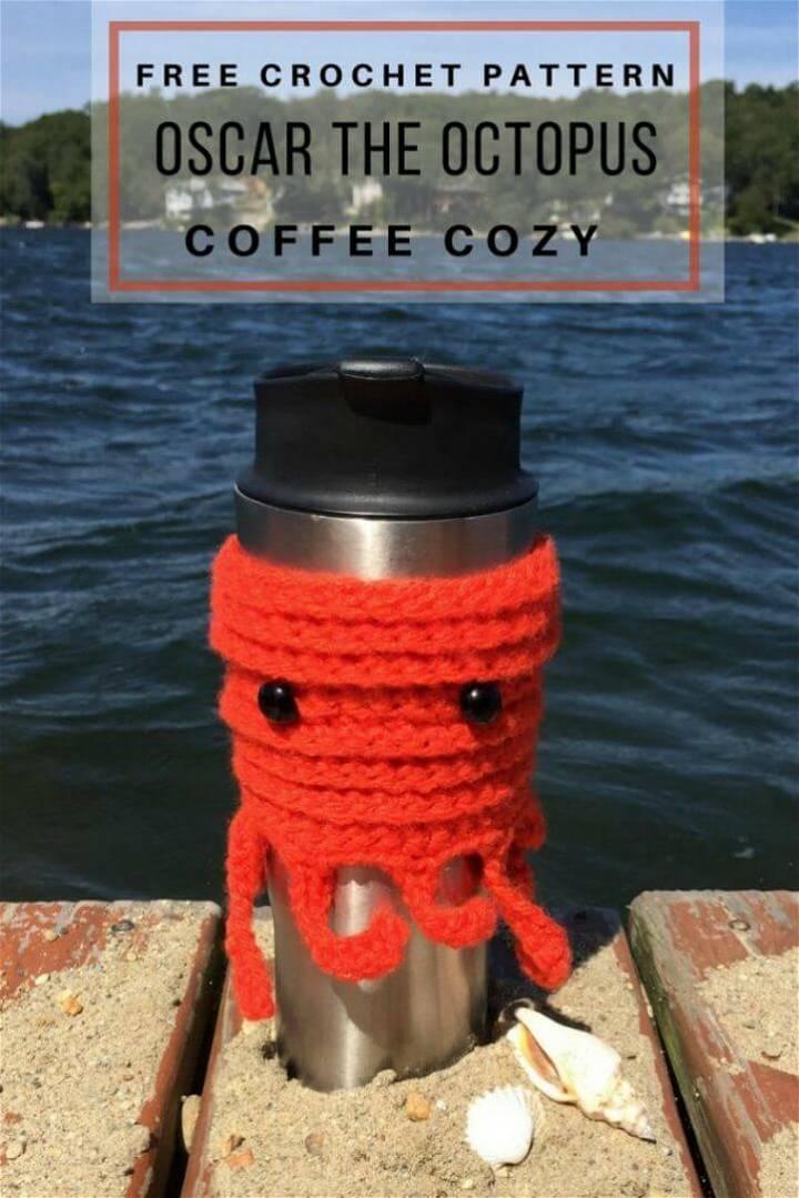 Easy Free Crochet Oscar The Octopus Coffee Cozy Pattern