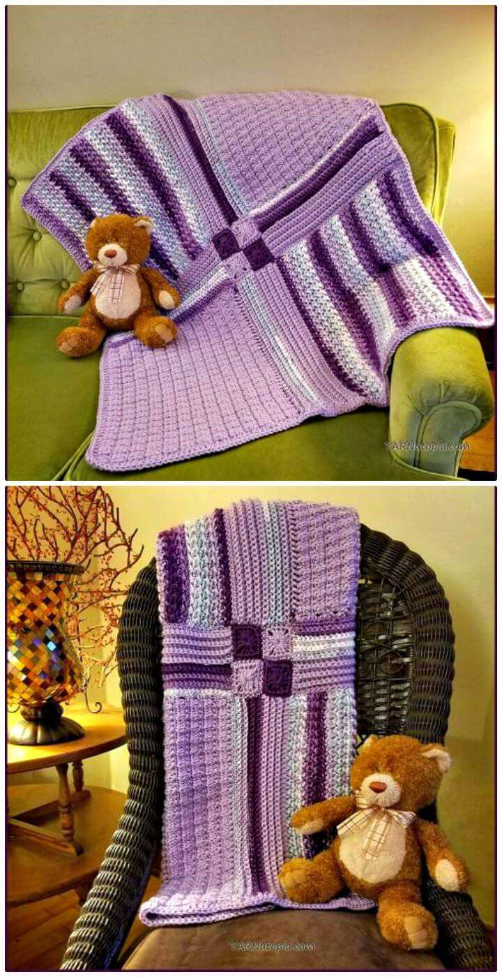 Free Crochet Patchwork Medley Baby Blanket Tutorial