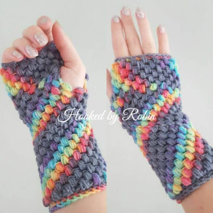 Free Crochet Puff Stitch Finger-less Gloves Pattern