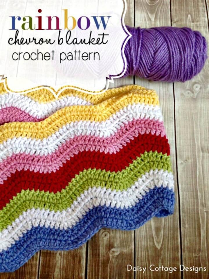 Free Crochet Rainbow Chevron Baby Blanket Pattern