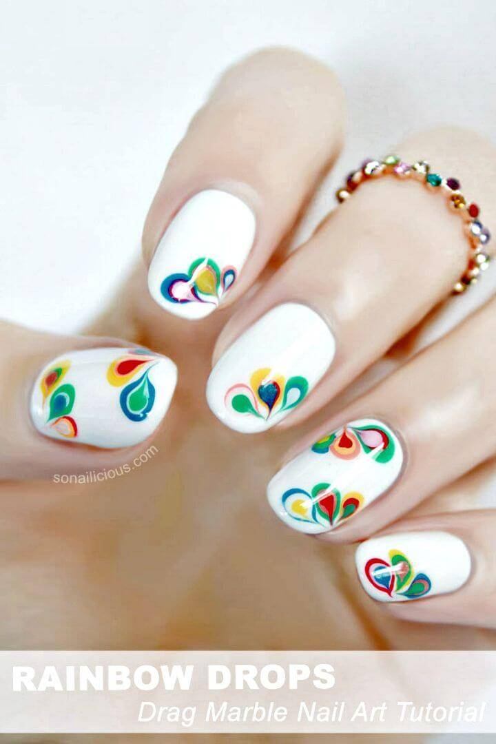 Easy DIY Rainbow Drops Drag Marble Nail Art