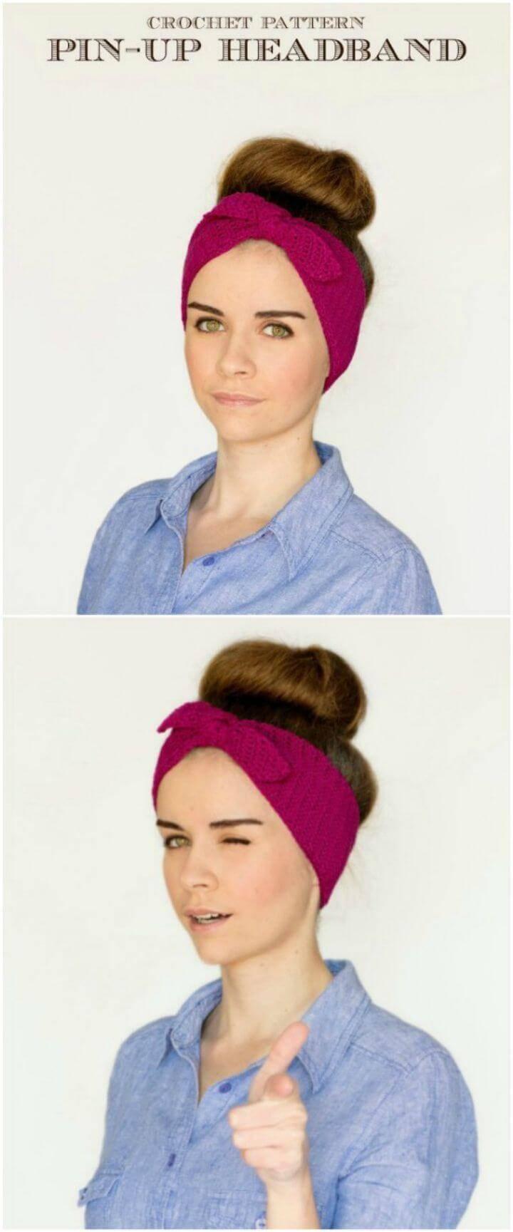 How To Retro Pin-Up Headband Crochet Pattern