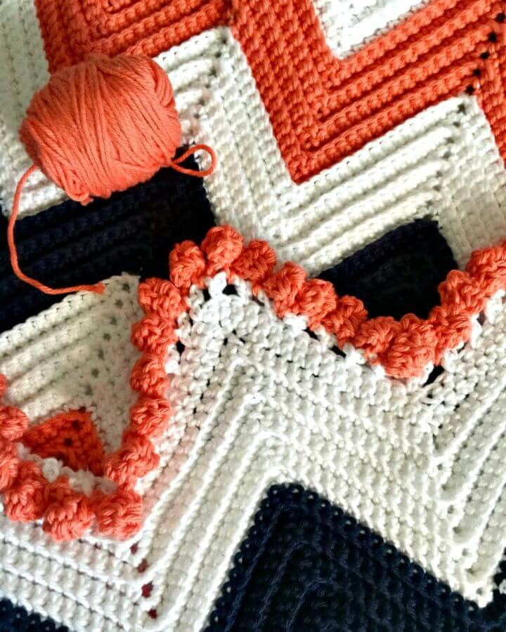 Easy Single Crochet Chevron Baby Blanket - Free Pattern