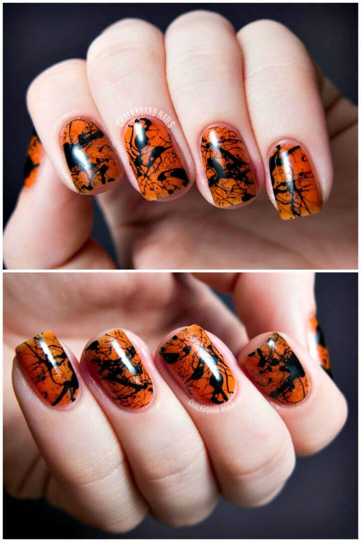 Super Easy Spooky Splatter Nails Art