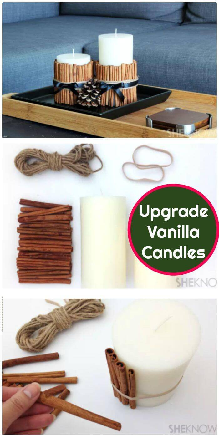 Upgrade Simple Vanilla Candles With A Cinnamon Stick