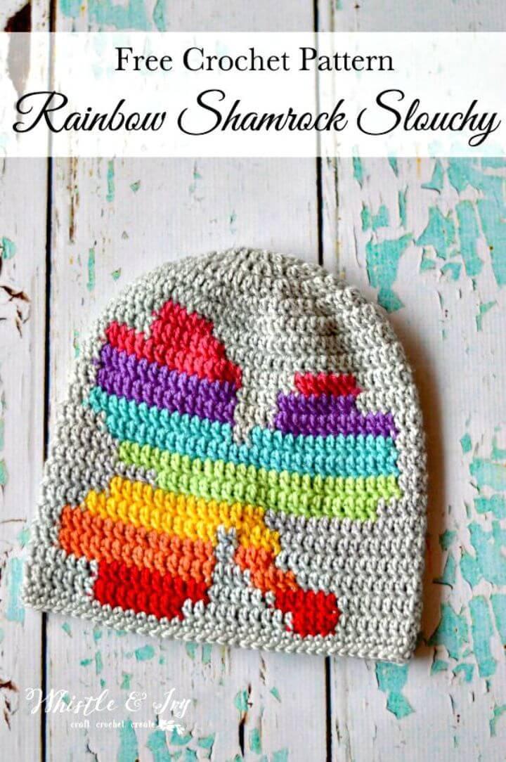 Women Crochet Rainbow Shamrock Slouchy - Free Pattern