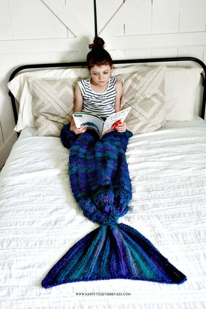 Easy Free Crochet Mermaid Tail Blanket Pattern