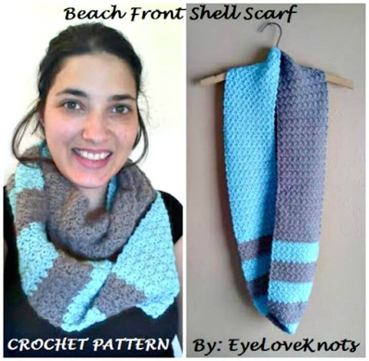 Easy Beach Front Slanted Shell Infinity Scarf - Free Crochet Pattern