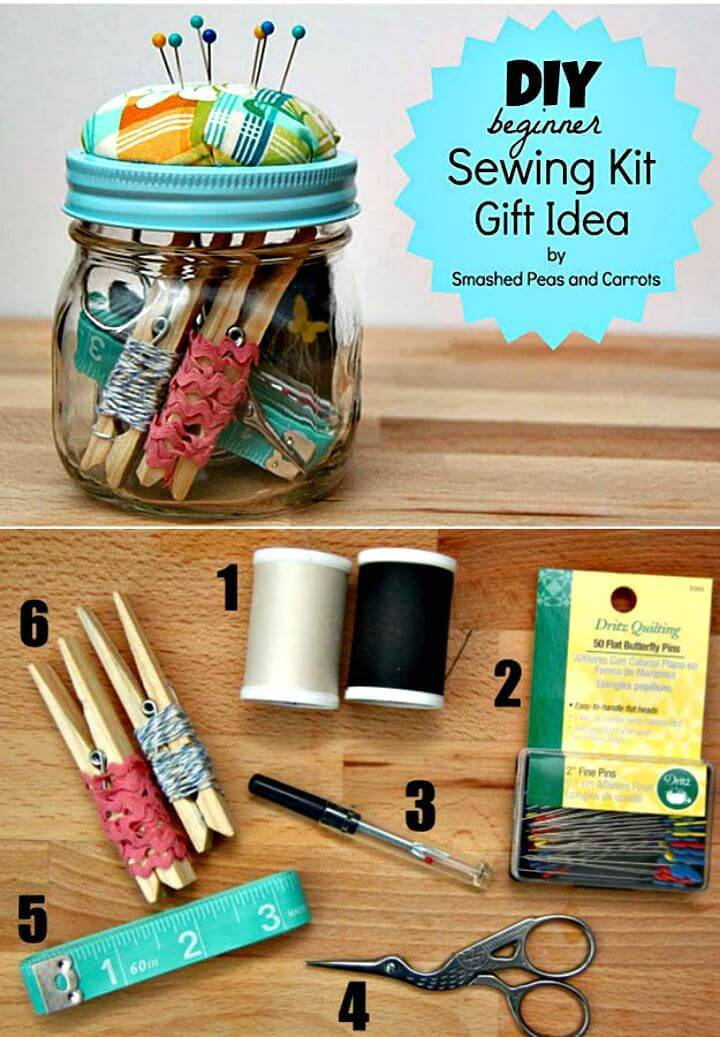 Beautiful DIY Beginner Sewing Kit Gift In A Jar